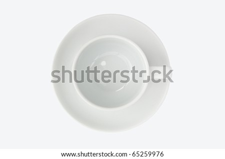 empty coffee cup top view isolate on white background - stock photo