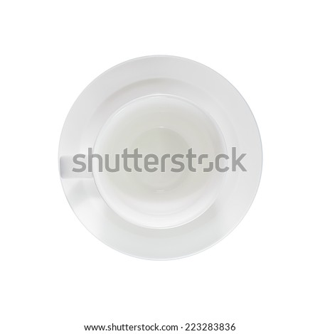 Empty coffee cup, top view isolated