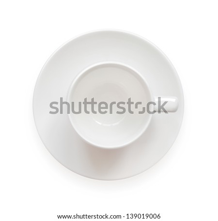 Empty coffee cup, top view, isolated on white background