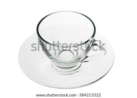 empty coffee glass with dish isolated on white backgound