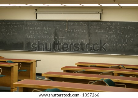 Empty college classroom - stock photo