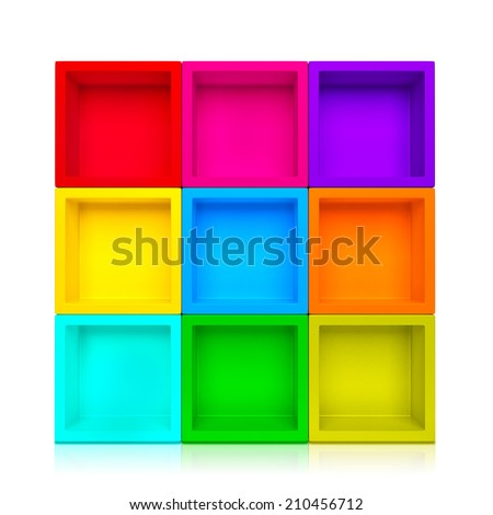 Empty colorful shelves isolated on clean white background. - stock photo
