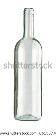 Empty colorless glass bottle, isolated. - stock photo