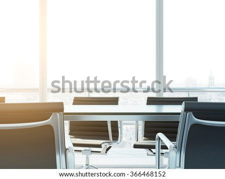 empty conference room desk, modern office space close-up. 3d render - stock photo