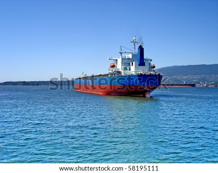 Empty container ship - stock photo
