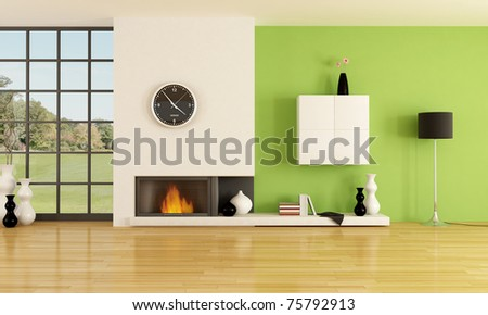 empty contemporary interior with minimalist fireplace -rendering- the image on background is a my photo - stock photo