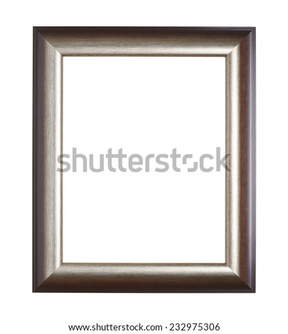 Empty copyspace wooden picture frame isolated over the white background