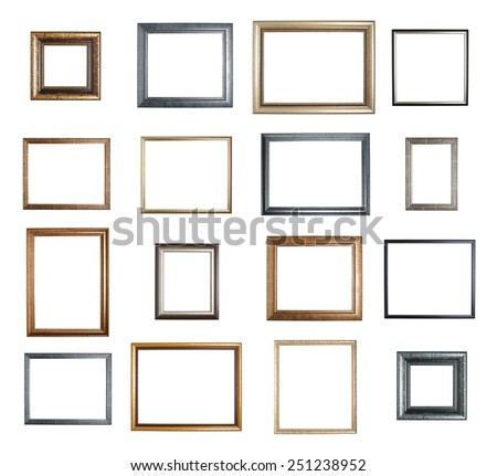 Empty copyspace wooden picture frame isolated over the white background, set of sixteen images - stock photo