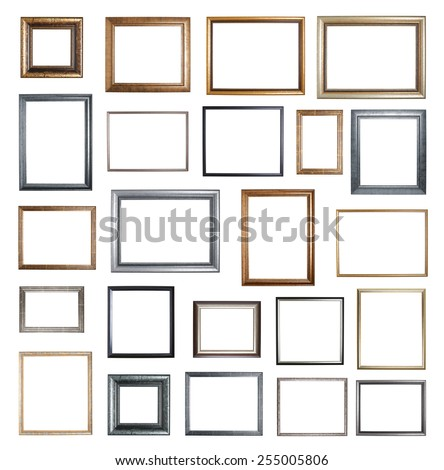 Empty copyspace wooden picture frame isolated over the white background, set of twenty three images - stock photo