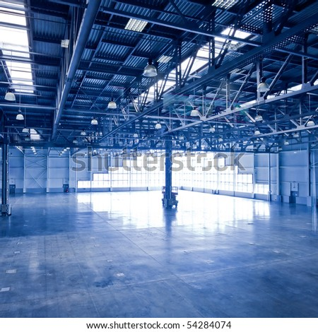 Empty corner hall interior - stock photo