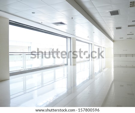 empty corridor in the modern building. - stock photo