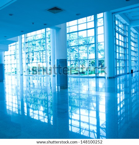 empty corridor in the modern office building. - stock photo