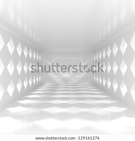 Empty Corridor in the Modern Office Building - 3d illustration - stock photo