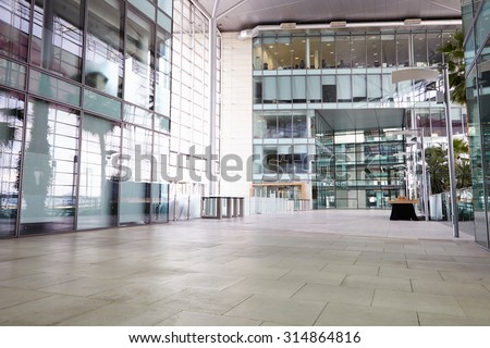 Empty corridor of a large corporate business - stock photo