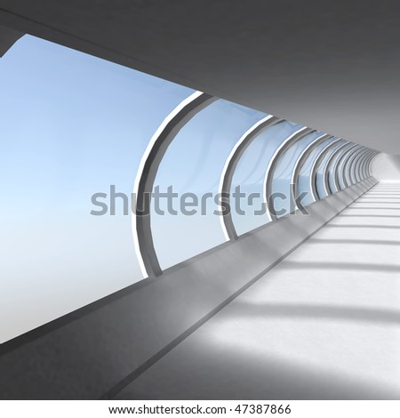 Empty corridor with large windows illustration - stock photo