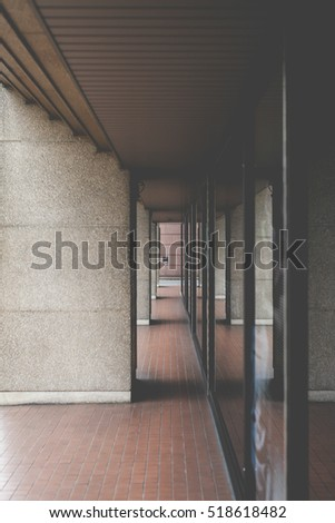 Empty corridor with set of slide doors