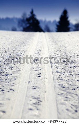 Empty cross-country ski track