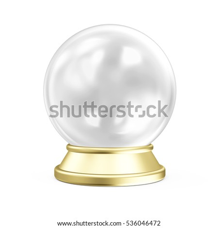 Empty Crystal Ball with Golden Stand isolated on white background. 3D Rendering