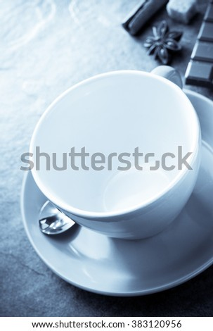 empty cup of coffee on table