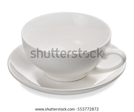 Empty cup of tea isolated on white