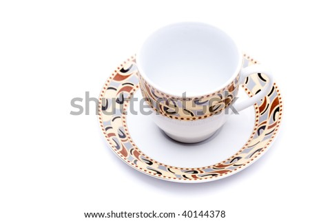 empty cup with saucer - stock photo