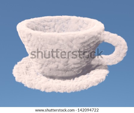 Empty cup with tea plate made of clouds on blue background - stock photo