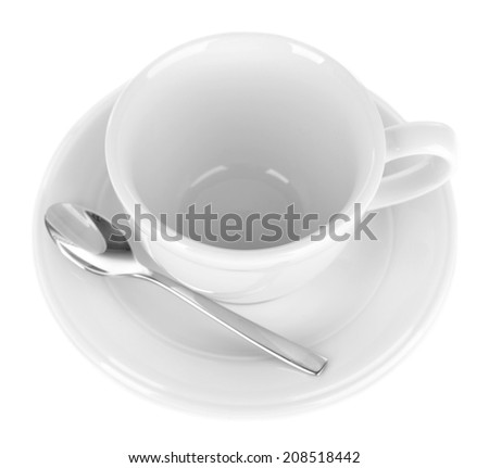 Empty cup with tea spoon isolated on white - stock photo