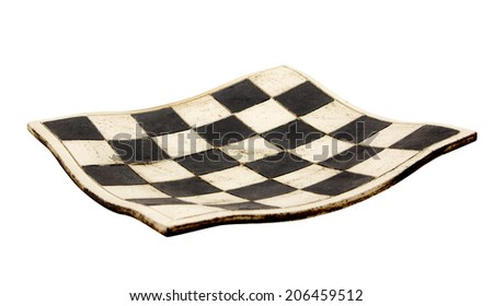 Empty curved ceramic chess board isolated on white background - stock photo