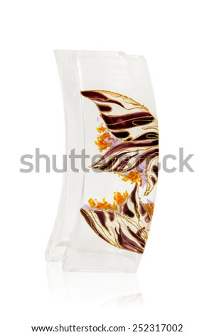 Empty curved rectangular glass vase with ornament  isolated on a white background - stock photo