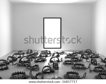 Empty 3d room with floor covered in foothold traps, horizontal - stock photo