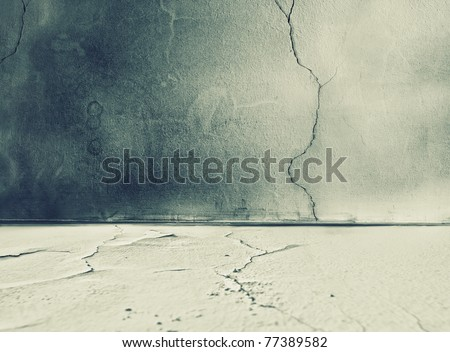 Empty damaged room - wall with floor - stock photo