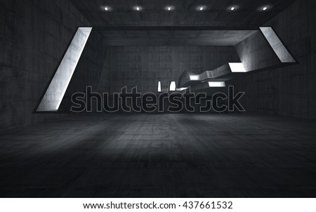Empty dark abstract concrete room interior. Architectural background. Night view of the illuminated. 3D illustration. 3D rendering - stock photo