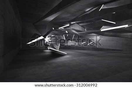 Empty dark abstract concrete room interior. 3D illustration. 3D rendering - stock photo