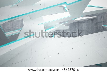 Empty dark abstract concrete room interior with blue glossy sculpture. Architectural background. 3D illustration and rendering