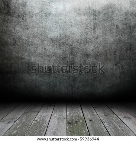 Empty dark room - stock photo