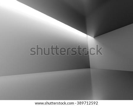 Empty Dark Room With Decorate Lights. Interior Background. 3d Render Illustration - stock photo