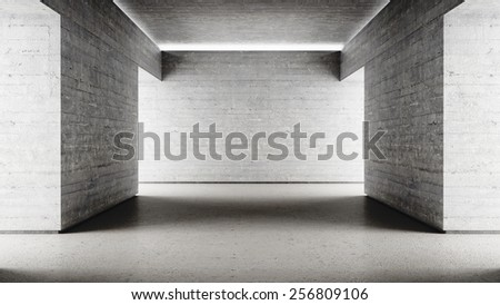 Empty dark scary concrete walls corridor end 3d render - stock photo