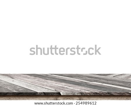 Empty dark tropical wooden table top isolate on white background, Leave space for placement you background,Template mock up for display of product - stock photo