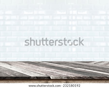 Empty Diagonal Wooden Table top at blurred white tiles ceramic wall,Template mock up for display of your product,Business presentation - stock photo