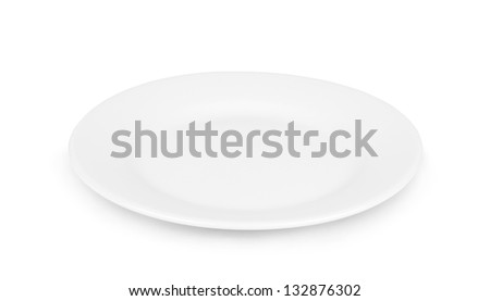 Empty dinner plate front view on white background. - stock photo