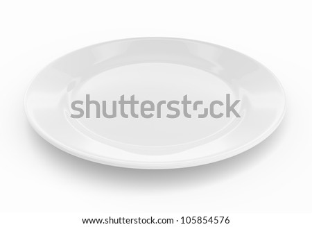 Empty dinner plate front view on white background with clipping path - stock photo