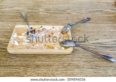 Empty dirty wooden dish - stock photo