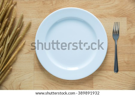 Empty Dish with grass flower