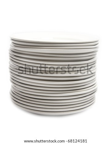 Empty dishes isolated on white background - stock photo