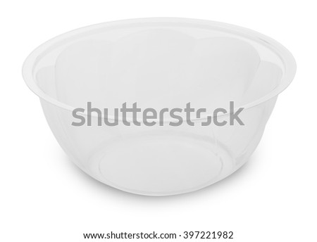 empty disposable transparent plastic container isolated on white background with clipping path - stock photo