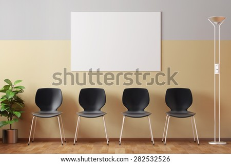 Empty doctors waiting room with empty picture frame and black chairs