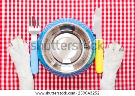 empty dog food bowl with knife and fork on tablecloth,paws of a dog - stock photo