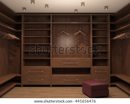 Empty dressing room, interior of a modern house. 3d illustration