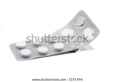 Empty drugs pack isolated over white background