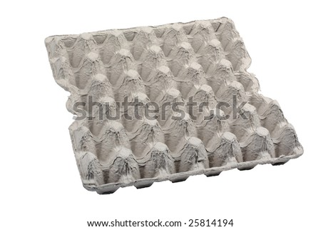 Empty egg package isolated on white background.